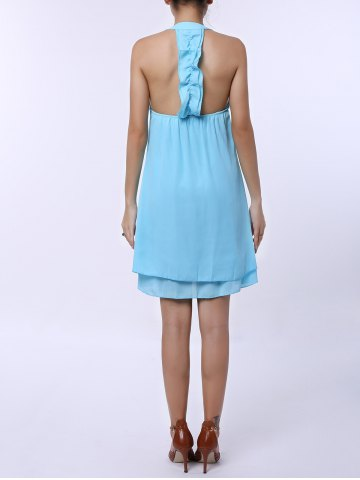 Best Sleevekess Chiffon Cut Out Mini A Line Summer Casual Dress - S LAKE BLUE Mobile