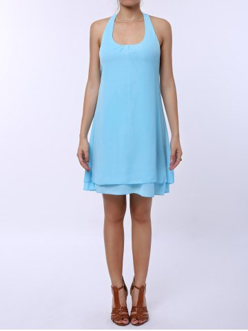 Trendy Sleevekess Chiffon Cut Out Mini A Line Summer Casual Dress LAKE BLUE L