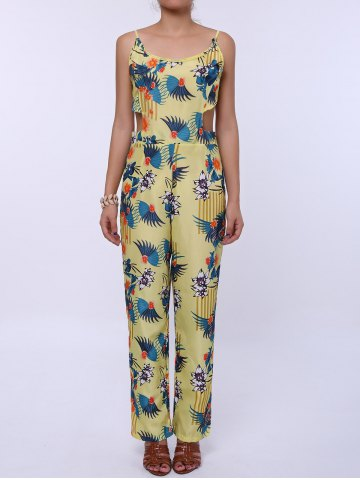 Affordable Cutout Spaghetti Strap Floral Print Backless Jumpsuit YELLOW S