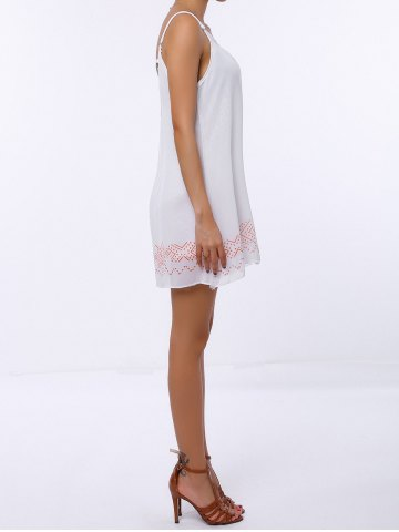 Discount Casual Backless Mini Slip Summer Dress - XL WHITE Mobile