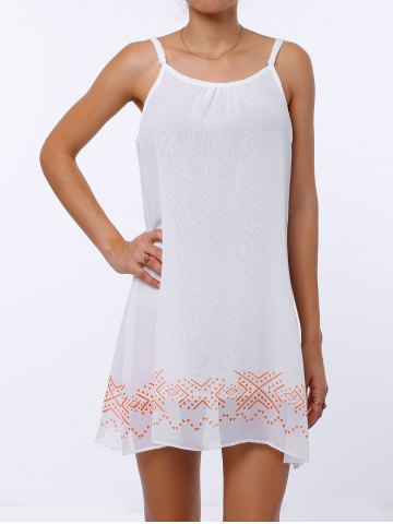 Affordable Casual Backless Mini Slip Summer Dress - XL WHITE Mobile
