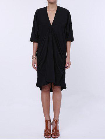 Store Maxi Plunge Neck Batwing Sleeve Casual Dress BLACK ONE SIZE