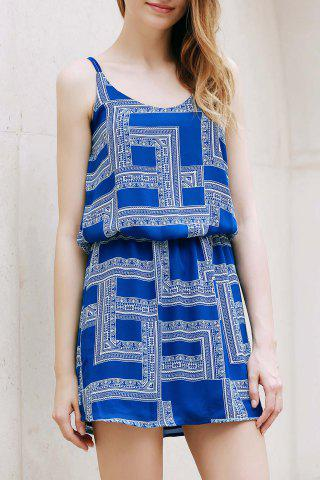 Shop Trendy Spaghetti Strap Geometric Print Chiffon Women's Dress