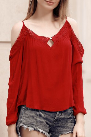 Outfit Chic Spaghetti Strap Lace Spliced Hollow Out Women's Blouse