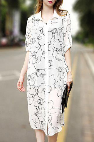 Outfits Chic Shirt Collar Cartoon Print Pocket Design Women's Shirt