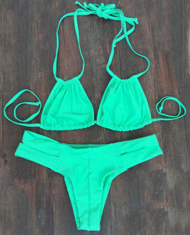Alluring Double Halter Neck Solid Color Women's Bikini Set - Green - M