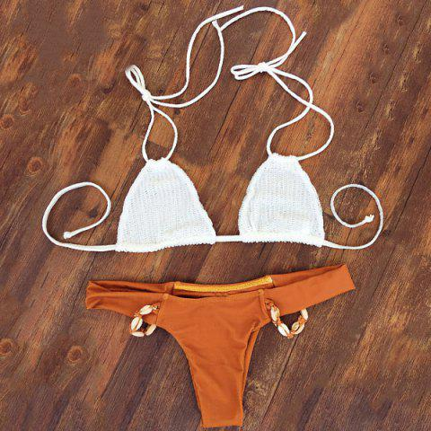 Alluring Halter Neck Self-Tie Beaded Women's Bikini Set - Orange - L