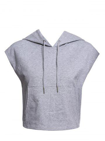Chic Women's Active Hooded Sleeveless Candy Color Hoodie