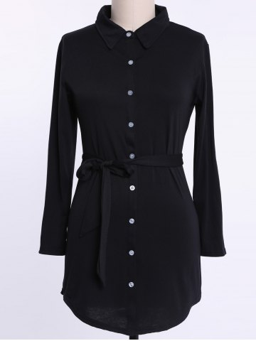 Fashion Long Sleeve Plus Size Button Up Shirt Dress BLACK 2XL