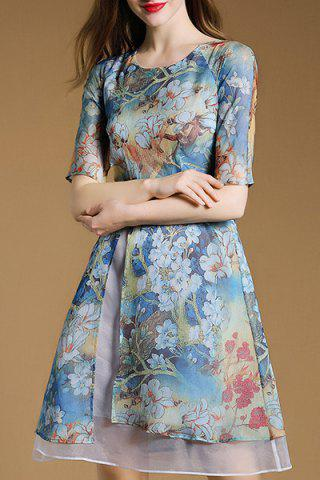 Trendy Women's Stylish 1/2 Sleeve Print Chiffon Dress
