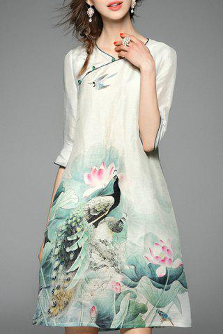 Fancy Women's Chinese Style Lotus Print 3/4 Sleeve Dress