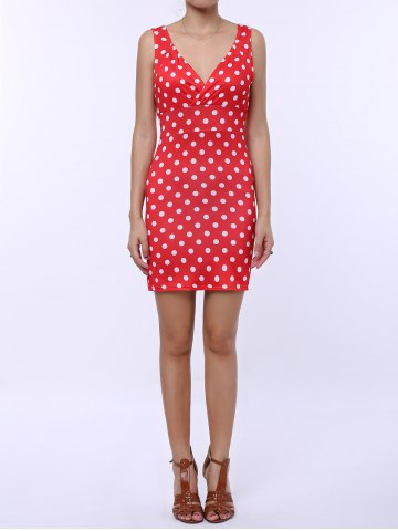 Polka Dot Sleeveless Bodycon Dress - Red - Xl