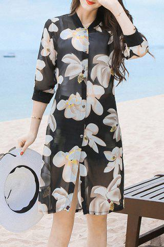 Shops Refreshing 3/4 Sleeve Floral Print Button Design Women's Cover-Up