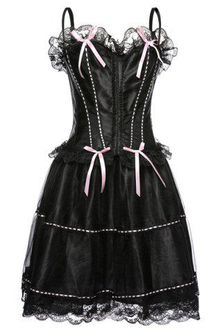 Discount Chic Spaghetti Strap Lace Spliced Bowknot Embellished Women's Corset