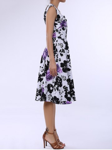 Latest Retro Style Square Neck Sleeveless Flower Pattern Dress For Women PURPLE 3XL