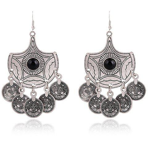 Store Pair of Vintage Alloy Coins Pendant Earrings BLACK