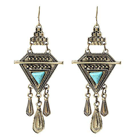 Shop Pair of Vintage Faux Turquoise Water Drop Triangle Earrings