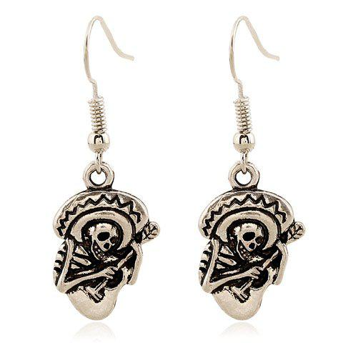Fashion Pair of Retro Skeleton Playing The Guitar Earrings SILVER