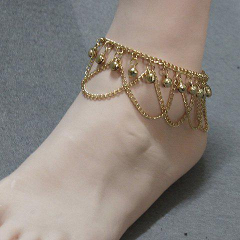 Stylish Gold Plated Small Bell Traditional Anklets - Golden