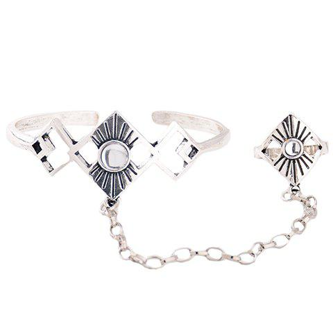 Hot Vintage Alloy Geometric Bracelet With Ring SILVER