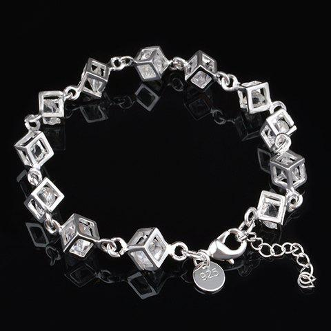 Fashion Rhinestone Square Hollow Out Bracelet