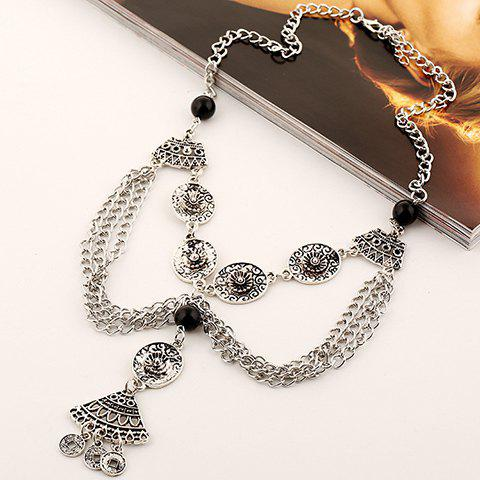 Trendy Retro Bead Flower Hollow Out Coin Tassel Necklace