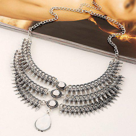 Chic Stylish Fake Gem Multilayer Cone Necklace For Women WHITE