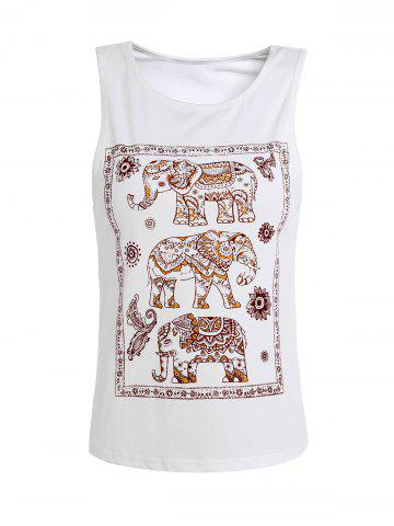 Trendy Elephant Print Scoop Neck Tank Top