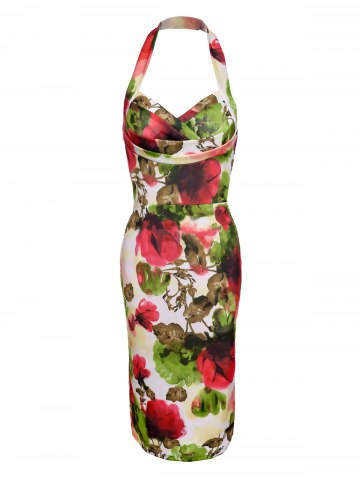 Halter Floral Print Multicolor Bodycon Dress - Colorful - Xl