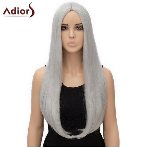 Online Fashion Long Straight Tail Adduction Middle Part Synthetic Universal Adiors Cosplay Wig For Women SILVER WHITE
