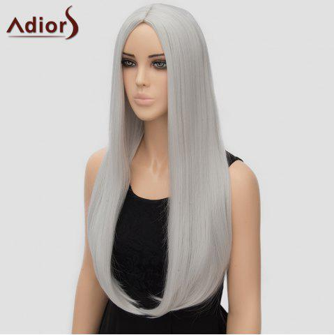 Discount Fashion Long Straight Tail Adduction Middle Part Synthetic Universal Adiors Cosplay Wig For Women - SILVER WHITE  Mobile