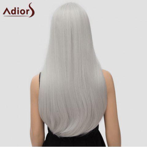 Affordable Fashion Long Straight Tail Adduction Middle Part Synthetic Universal Adiors Cosplay Wig For Women - SILVER WHITE  Mobile