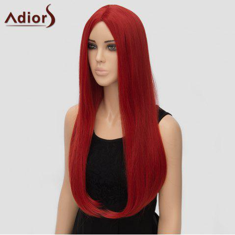 Affordable Fashion Long Straight Tail Adduction Middle Part Synthetic Universal Adiors Cosplay Wig For Women - RED  Mobile