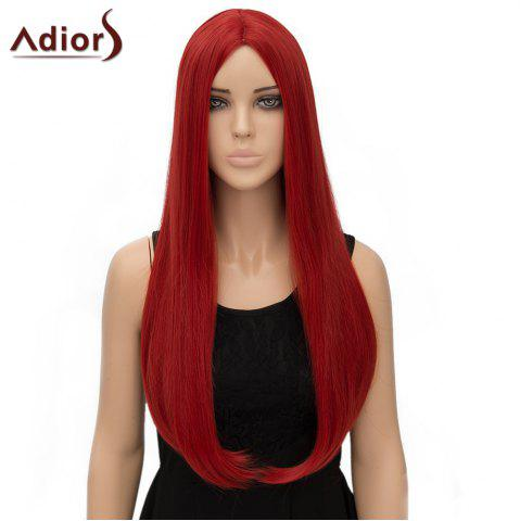 Discount Fashion Long Straight Tail Adduction Middle Part Synthetic Universal Adiors Cosplay Wig For Women - RED  Mobile