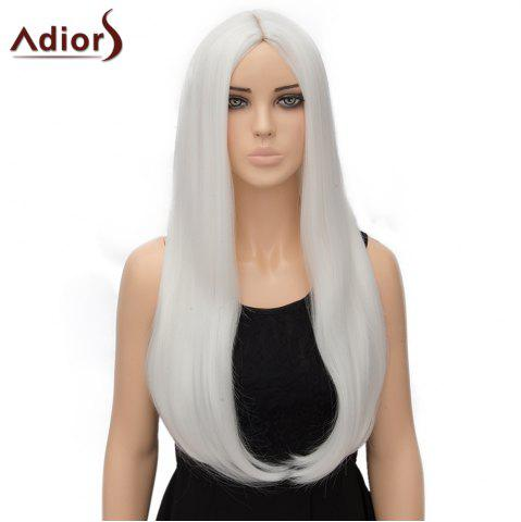 Affordable Fashion Long Straight Tail Adduction Middle Part Synthetic Universal Adiors Cosplay Wig For Women - WHITE  Mobile
