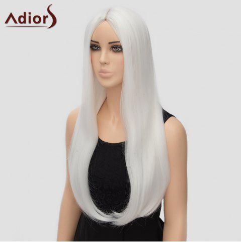 Fancy Fashion Long Straight Tail Adduction Middle Part Synthetic Universal Adiors Cosplay Wig For Women - WHITE  Mobile