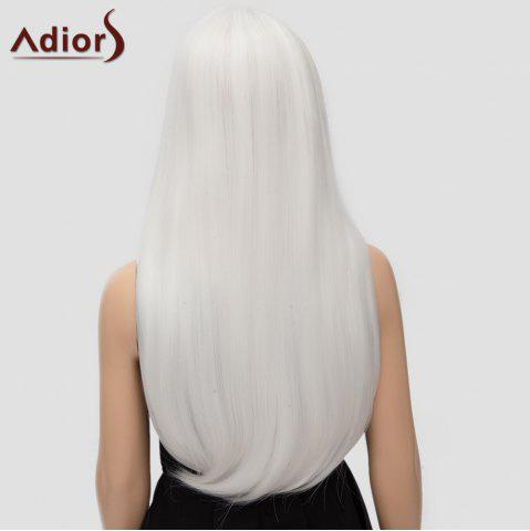 Store Fashion Long Straight Tail Adduction Middle Part Synthetic Universal Adiors Cosplay Wig For Women - WHITE  Mobile