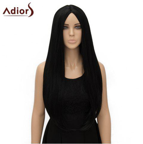 Store Fashion Long Straight Tail Adduction Middle Part Synthetic Universal Adiors Cosplay Wig For Women - BLACK  Mobile