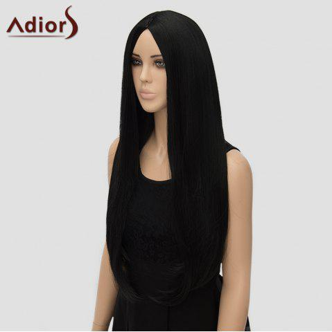 Shops Fashion Long Straight Tail Adduction Middle Part Synthetic Universal Adiors Cosplay Wig For Women - BLACK  Mobile