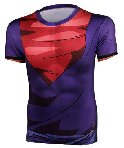 New Color Block Tight Round Neck Short Sleeves Dragon Balls T-Shirt For Men