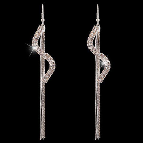 Outfits Pair of Tassel Rhinestoned S Shaped Earrings