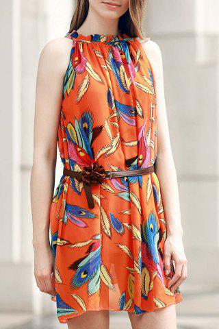 Buy Graceful Ruffled Collar Feather Print Asymmetric Sleeveless Dress For Women
