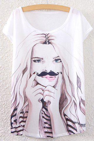 Store Scoop Neck Girl Print T-Shirt