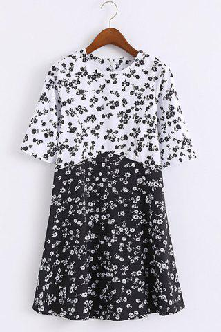 Shops Preppy Round Collar Half Sleeve  Women's Tiny Floral Print Dress