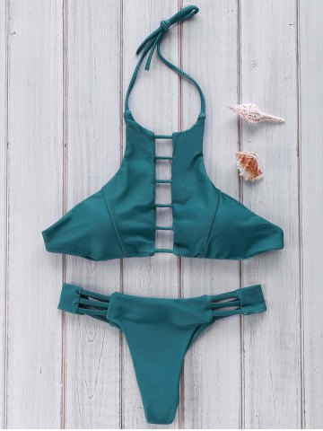 Hot Halter Hollow Out Bikini Set For Women - M GREEN Mobile