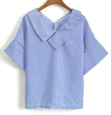 Unique Casual V-Neck Striped Short Sleeve Blouse For Women