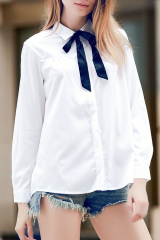 Outfit Fashionable Shirt Collar Solid Color Long Sleeve Tie Blouse For Women