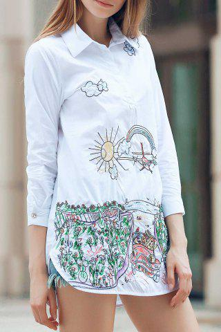 Fashion Embroidered Slit Long Sleeve Shirt