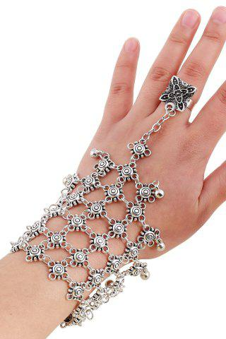 Outfits Chic Bead Hollow Plaid Bracelet and Ring For Women SILVER