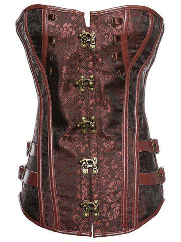 Latest Trendy Strapless Button Design Lace-Up Spliced Women's Corset BROWN 4XL